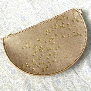 Anthropologie small starry zip pouch, rose gold